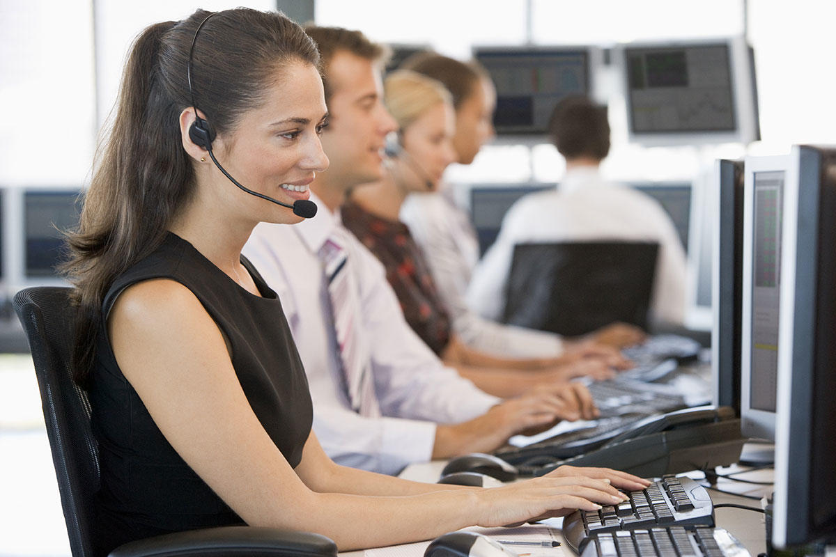 call center employee listens to the voice of the customer
